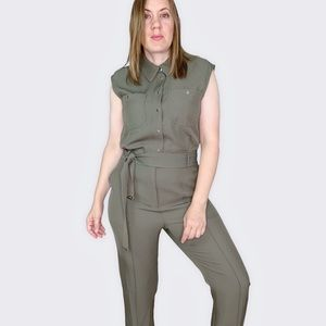 Tommy Hilfiger Twill Utility Button Front Jumpsuit
